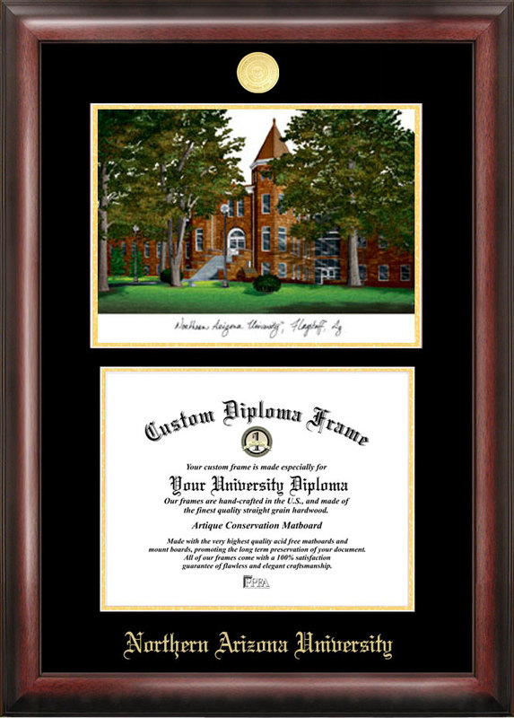 Northern Arizona University Gold embossed diploma frame with Campus Images lithograph