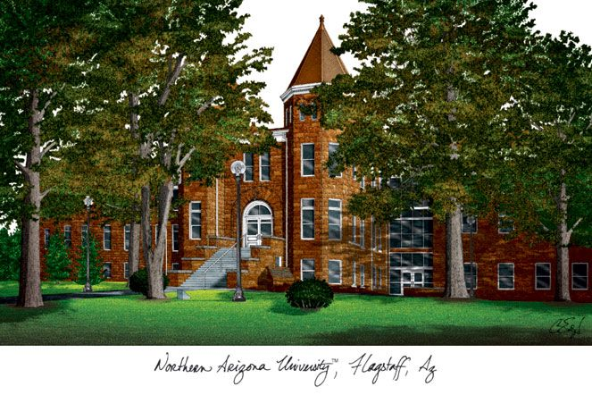 Northern Arizona University Campus Images Lithograph Print