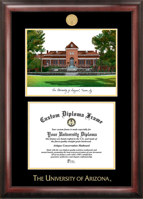 University of Arizona Gold embossed diploma frame with Campus Images lithograph