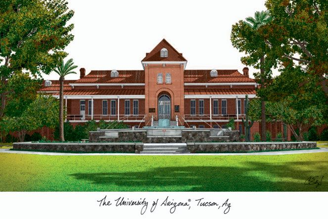 University of Arizona Campus Images Lithograph Print