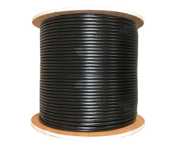 CAT6E Poly-Gel Filled Direct Burial Outdoor CMXF Cable, 23AWG, LSZH Jacket, 4 Pairs, Solid, 1000 ft - Black