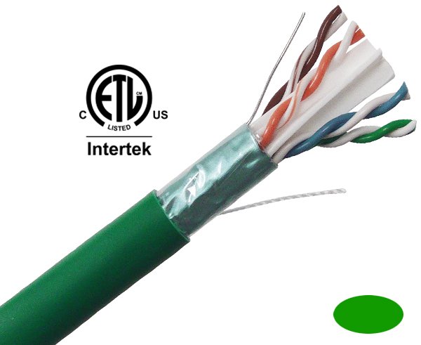 CAT6 Plenum Bulk Ethernet Cable, Shielded CMP, Solid Copper 23 AWG 1000FT Green - C6PSH-2061GR