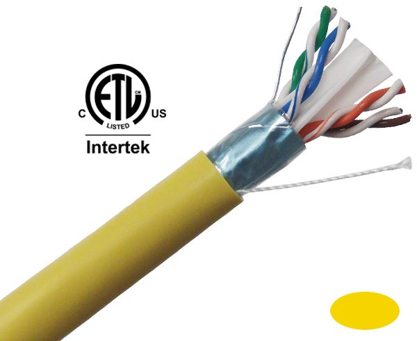CAT6 Plenum Bulk Ethernet Cable, Shielded CMP, Solid Copper 23 AWG 1000FT Yellow - C6PSH-2066YL