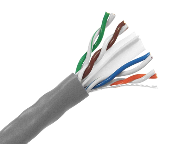 CAT6 Plenum Cable - (U/UTP), CMP, 23AWG 8/C Solid BC w/Spline, (ETL), 1000 Ft Pull Box -  Gray - C6UP-436GY