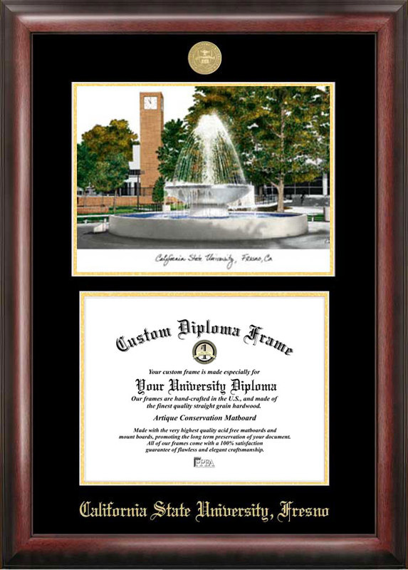 Cal State Fresno Gold embossed diploma frame with Campus Images lithograph - CA920LGED
