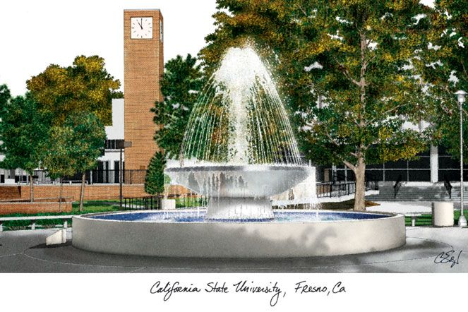 Cal State Fresno Campus Images Lithograph Print
