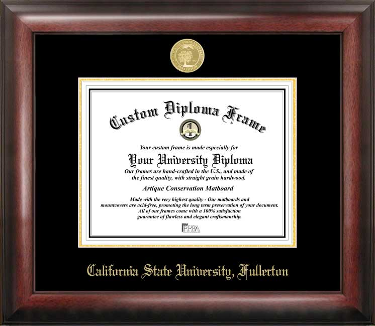 California State University, Fullerton Gold Embossed Diploma Frame