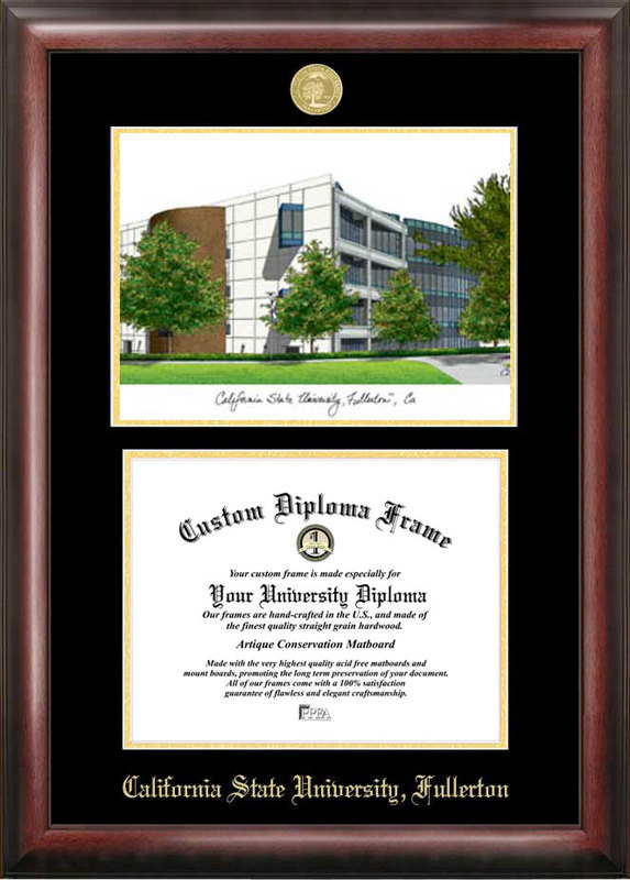 California State University, Fullerton Gold embossed diploma frame with Campus Images lithograph
