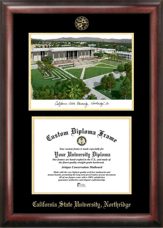 California State University, Northridge Gold embossed diploma frame with Campus Images lithograph