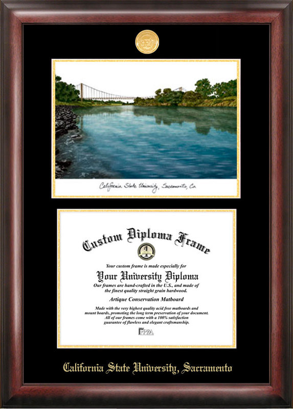 California State Sacramento University Gold embossed diploma frame with Campus Images lithograph