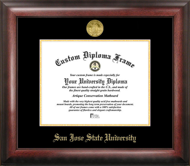 San Jose State University Gold Embossed Diploma Frame