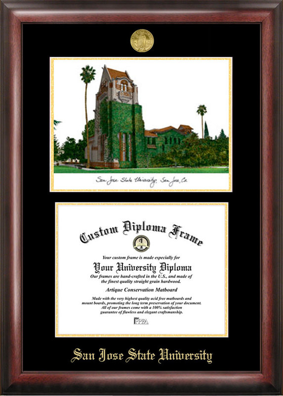 San Jose State University Gold embossed diploma frame with Campus Images lithograph