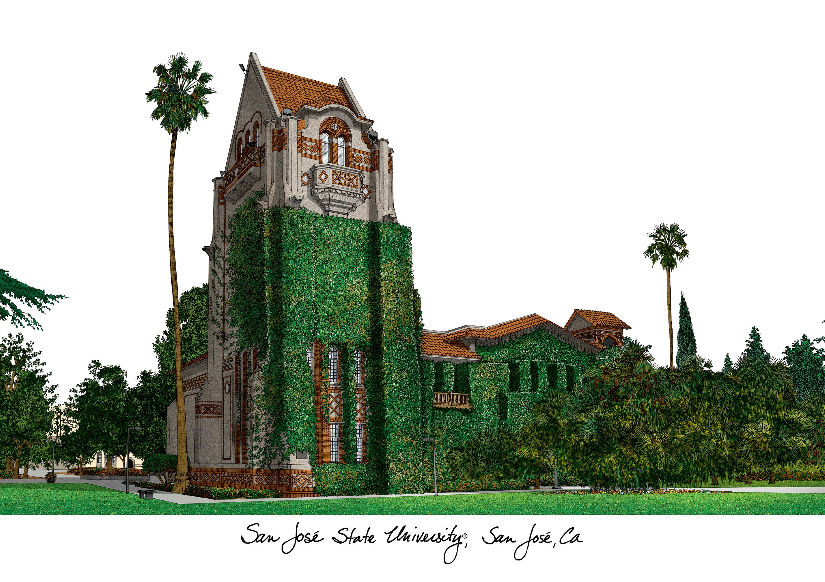 San Jose State University Campus Images Lithograph Print