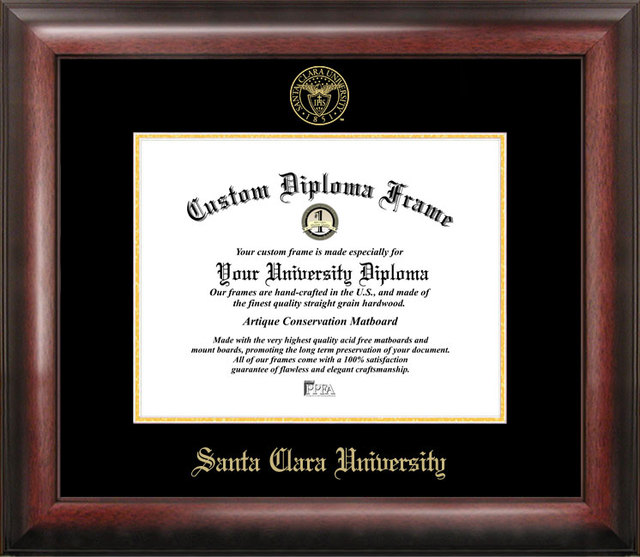 Santa Clara University Gold Embossed Diploma Frame