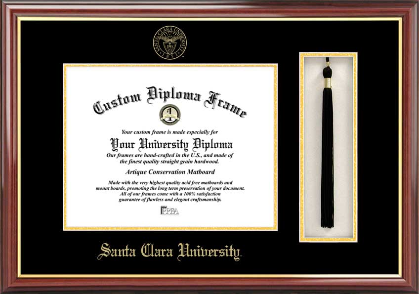 Santa Clara University  Tassel Box and Diploma Frame