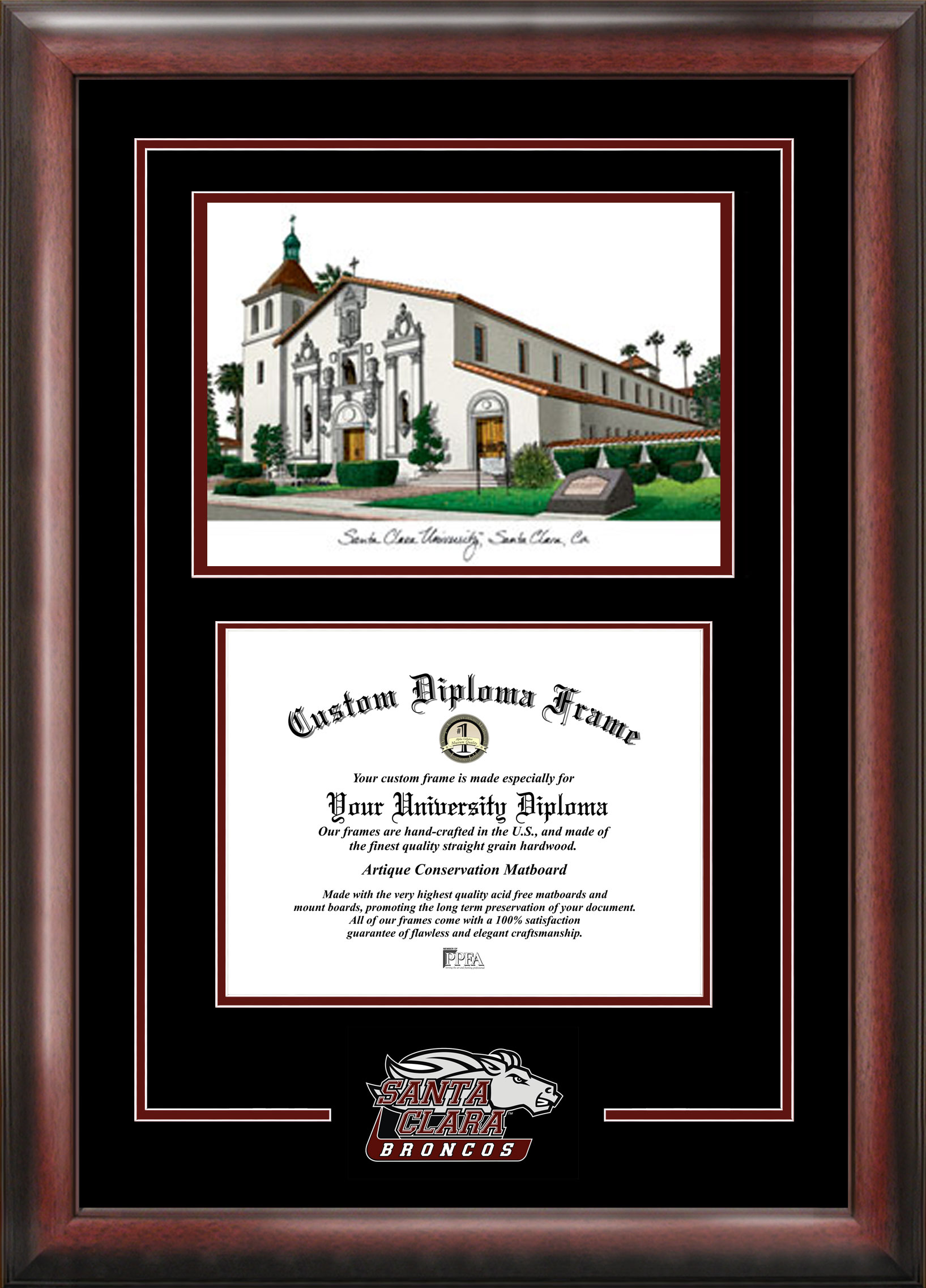 Santa Clara University Spirit Graduate Frame with Campus Image