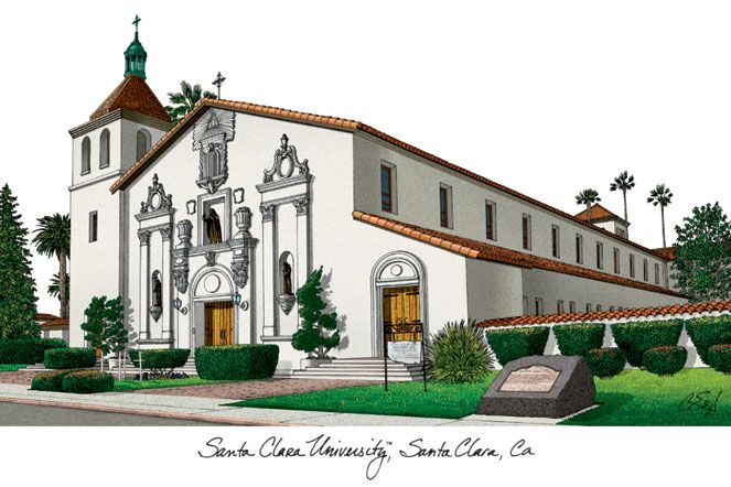 Santa Clara University Campus Images Lithograph Print