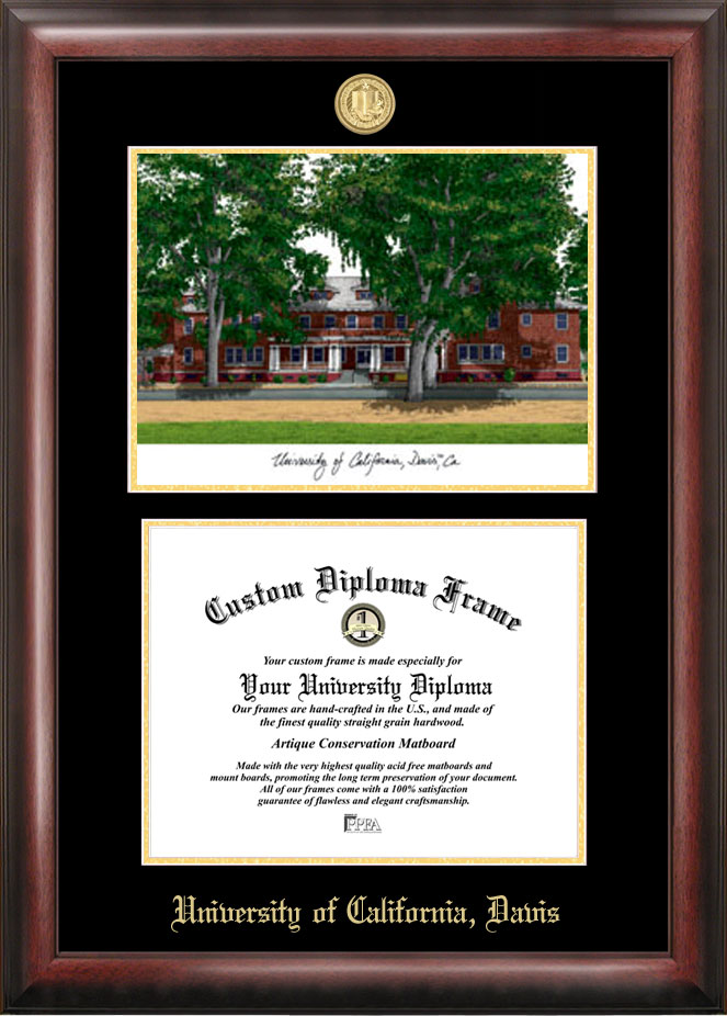 University of California, Davis Gold embossed diploma frame with Campus Images lithograph