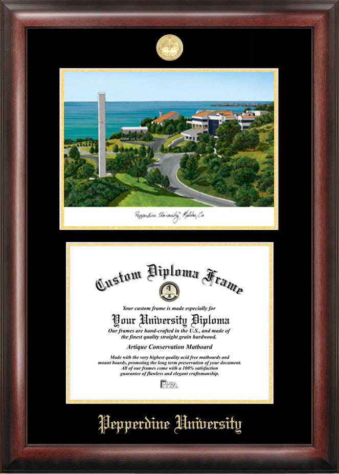 Pepperdine University Gold embossed diploma frame with Campus Images lithograph