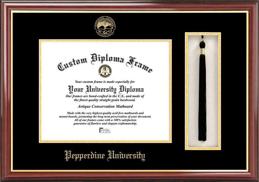 Pepperdine University  Tassel Box and Diploma Frame