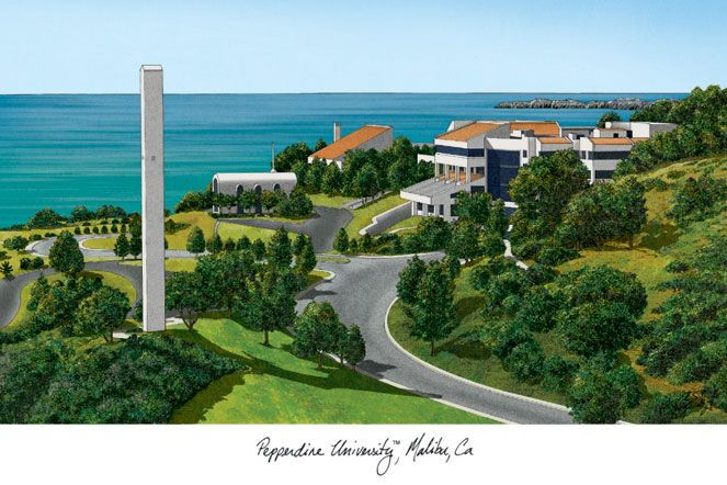 Pepperdine University Campus Images Lithograph Print