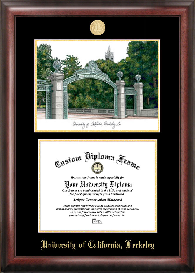 University of California, Berkeley Gold embossed diploma frame with Campus Images lithograph