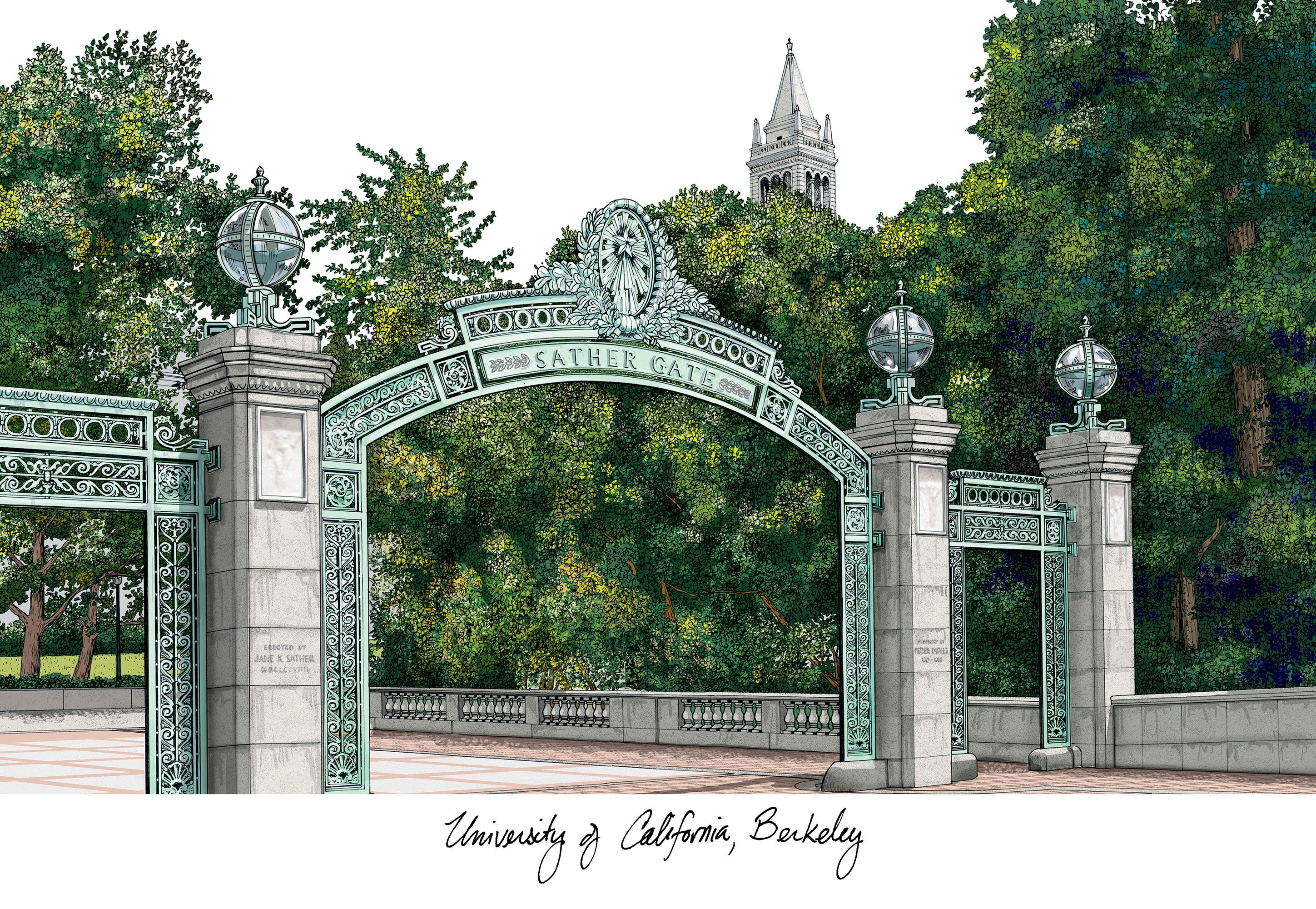 University of California, Berkeley Campus Images Lithograph Print