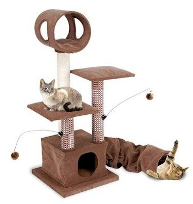 Penn Plax Activity Lounging Tower with Tunnel and Hide Away - CATF18