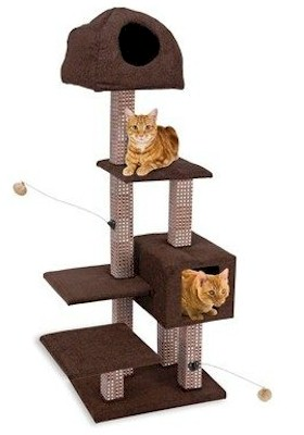 Penn Plax Dual Hide Away Lounge Tower with Bamboo Rubbing Posts - CATF19 - CATF19