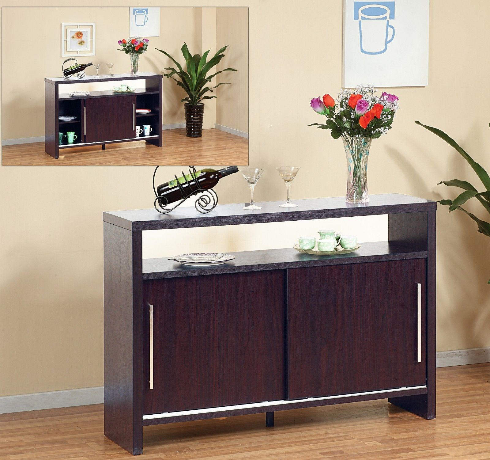 Modern Buffet Cabinet and Display Table w/ Sliding Doors - CB29288_AR