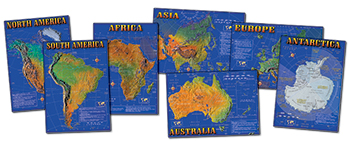Bb Set Seven Continents Of World 7 Physical Maps 17 X 24 - CD-1948 - CD-1948