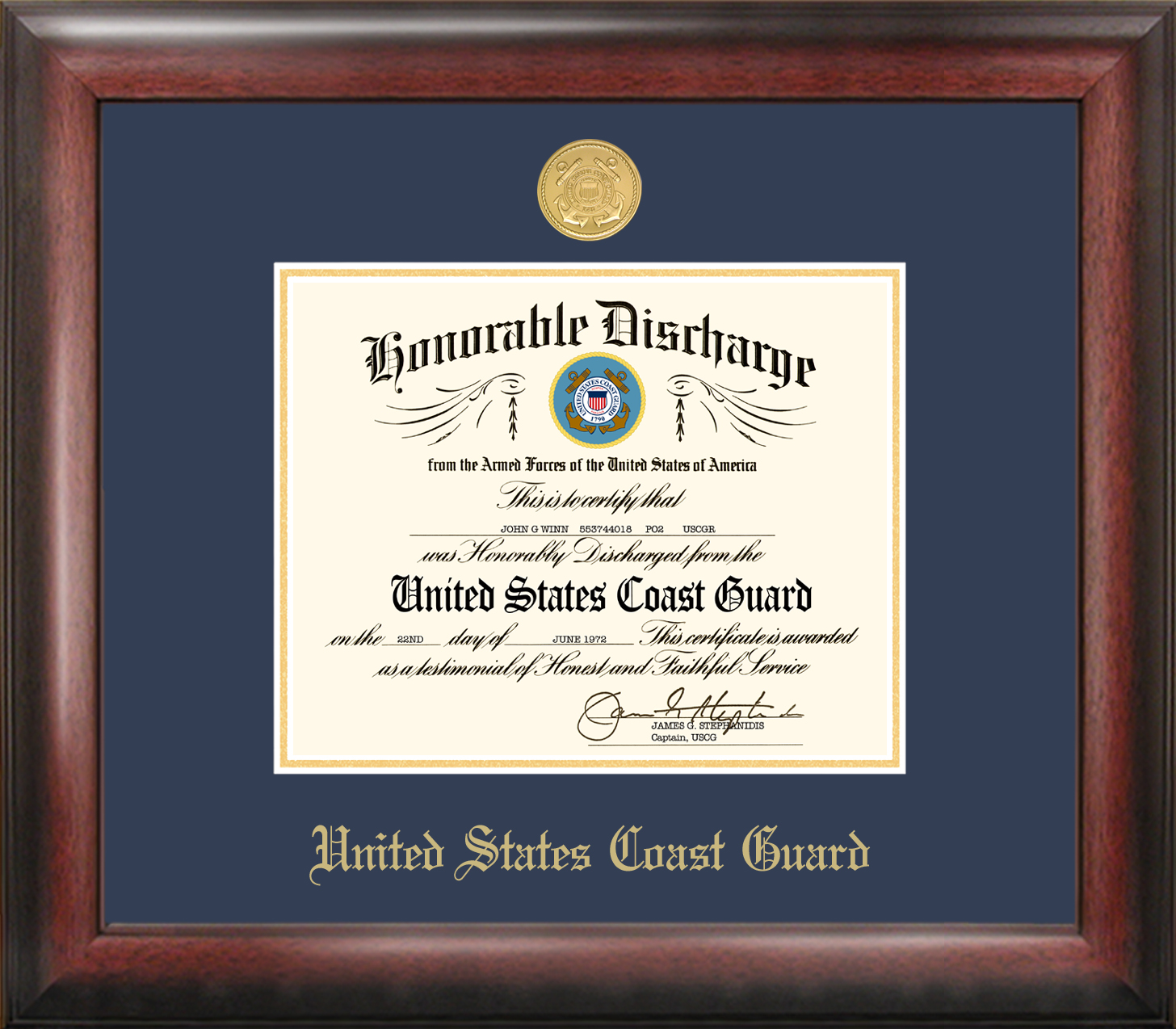 Coast Guard Discharge Frame Gold Medallion