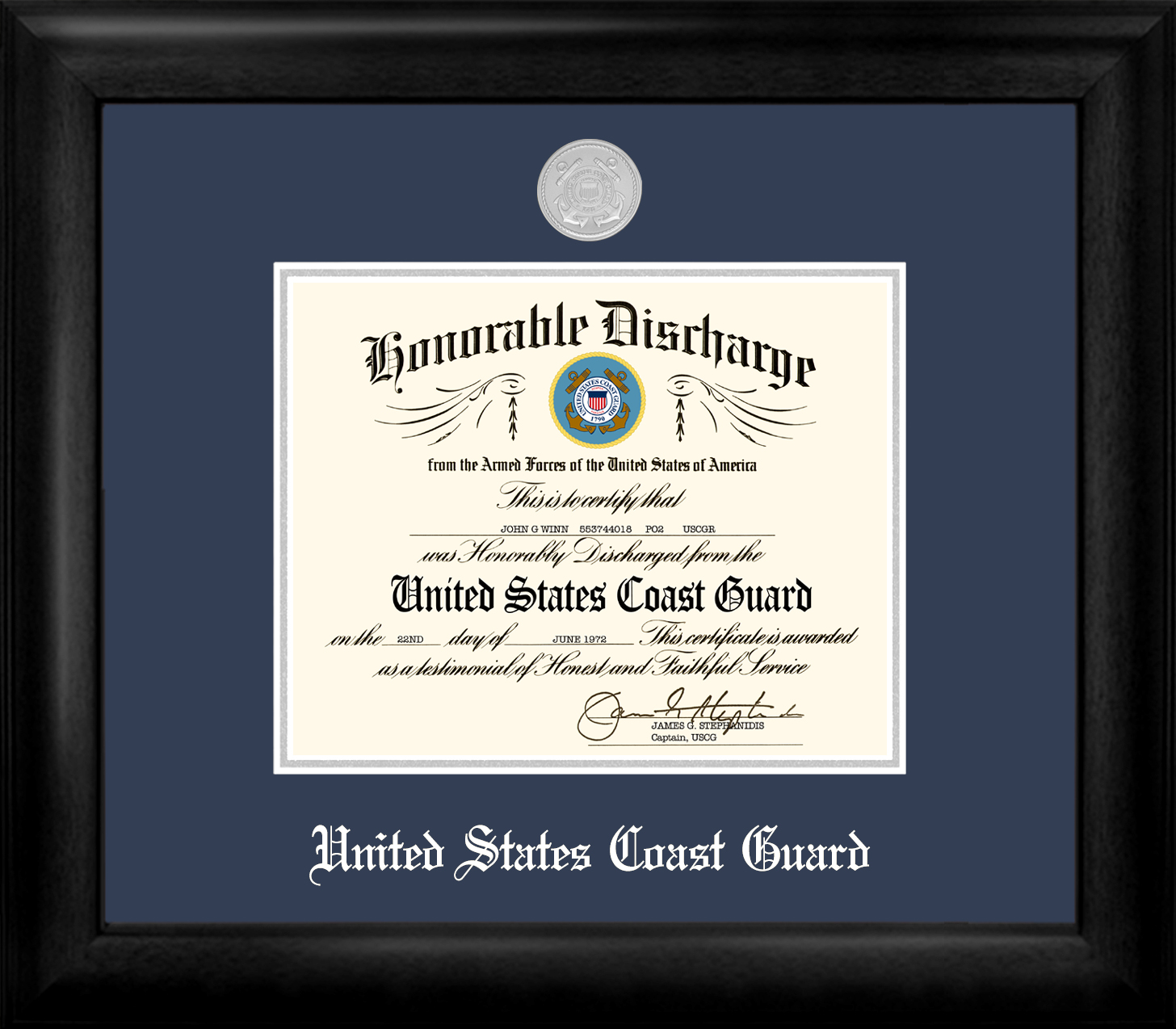 Coast Guard Discharge Frame Silver Medallion