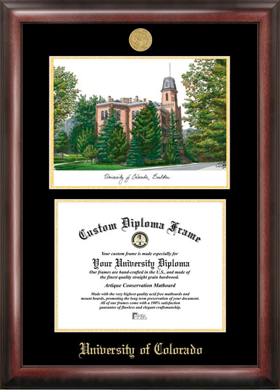 University of Colorado, Boulder Gold embossed diploma frame with Campus Images lithograph