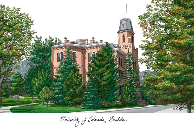 University of Colorado, Boulder Campus Images Lithograph Print