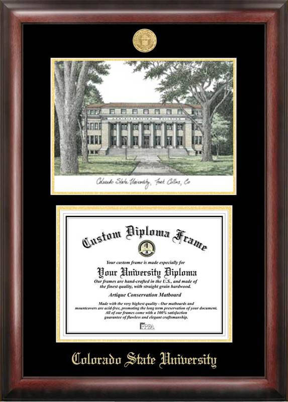 Colorado State University Gold embossed diploma frame with Campus Images lithograph