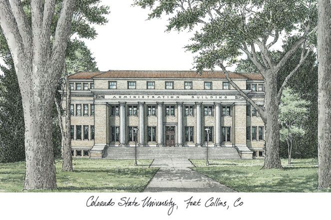 Colorado State University Campus Images Lithograph Print