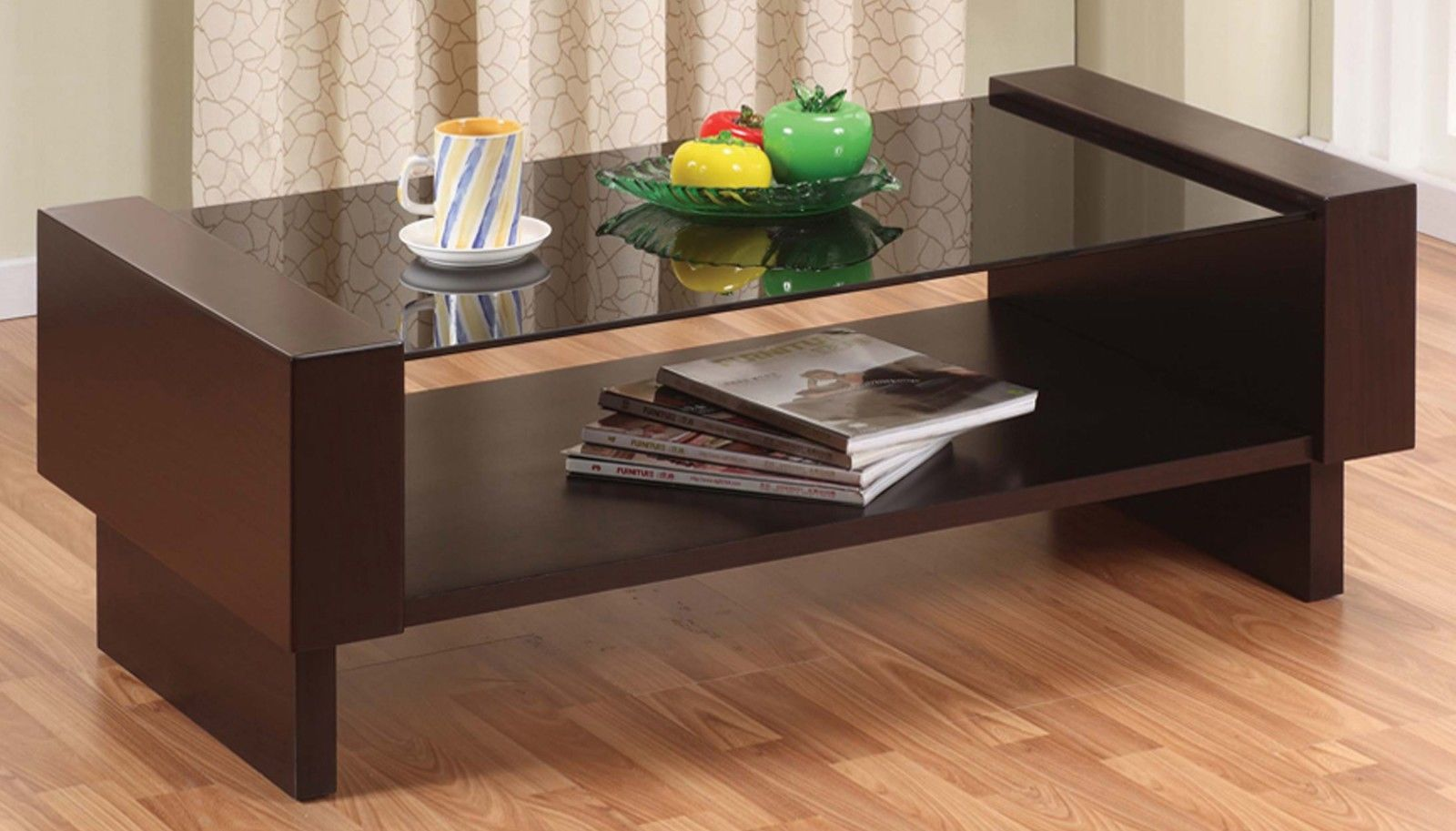 Modern Glass Top Coffee Table w/ Storage Shelf - CT8217_AR
