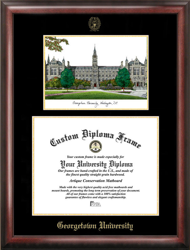 Georgetown University Gold embossed diploma frame with Campus Images ...