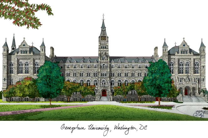 Georgetown University Campus Images Lithograph Print