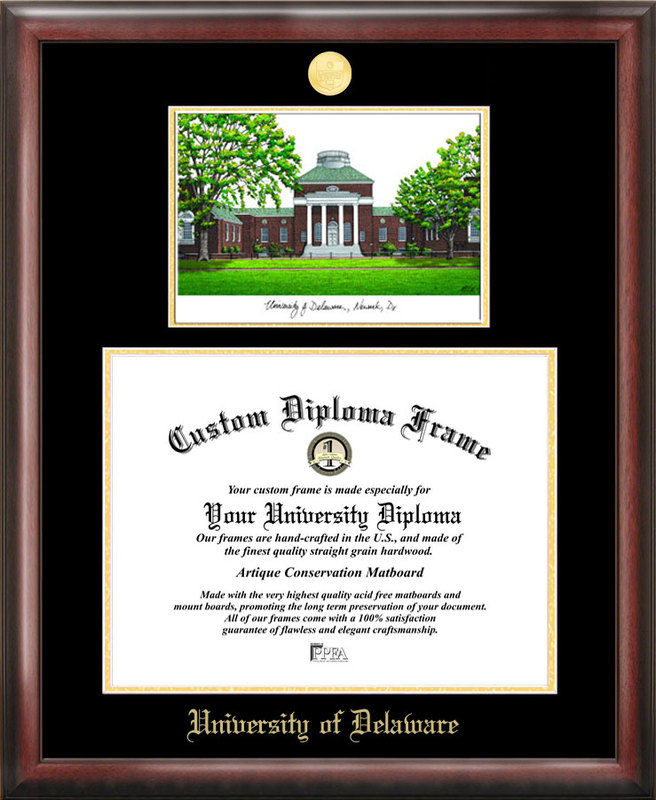 University of Delaware Gold embossed diploma frame with Campus Images lithograph