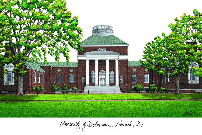 University of Delaware Campus Images Lithograph Print