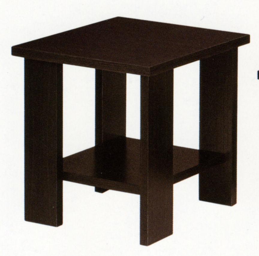 Modern Accent End Side Table w/ Bottom Shelf Living Room - Coffee Bean
