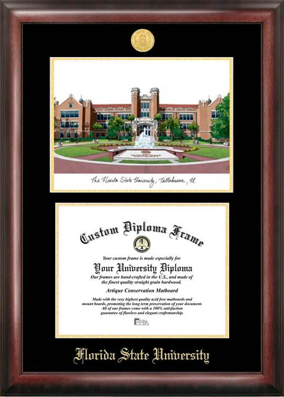 Florida State University Gold embossed diploma frame with Campus Images lithograph