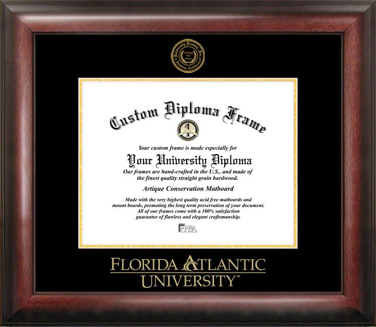 Florida Atlantic University Gold Embossed Diploma Frame