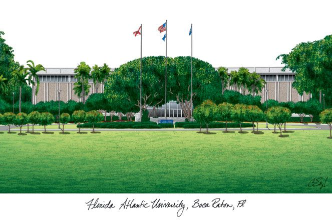 Florida Atlantic University Campus Images Lithograph Print