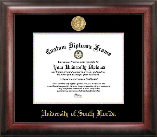 University of South Florida Gold Embossed Diploma Frame