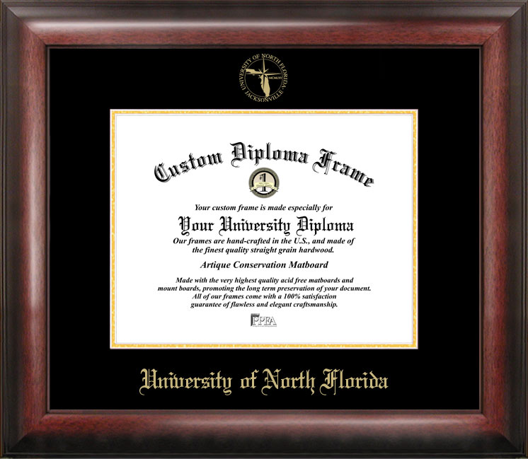 University of North Florida Gold Embossed Diploma Frame