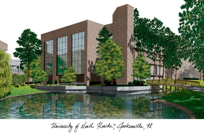 University of North Florida Campus Images Lithograph Print