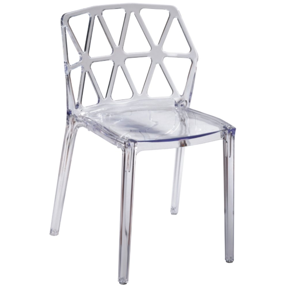 Fine Mod Imports  Zig Zag Dining Chair, Clear